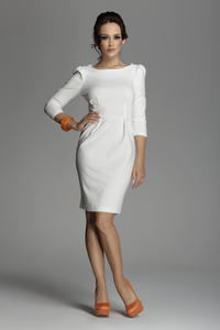Off White Bateau Neck Sheath Dress with Long Sleeves