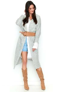 Light gray long asymmetrical cardigan without fastening