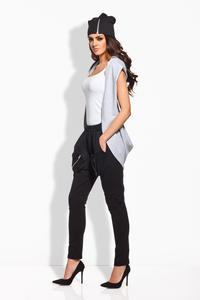 Light Grey Style Hooded Ladies Vest Jacket
