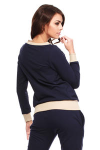 Navy Dynamic Sporty Sweatshirt Long-sleeve Blouse