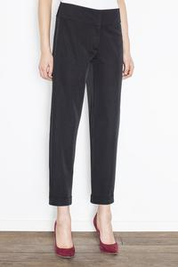 Black Elegant Cuffs Edging Trousers