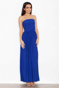 Blue Bandeau Maxi Dress with Side Slit
