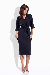 Black Pencil Midi Belted Dress