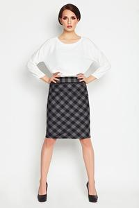 Grey Pencil Plaid Pattern Skirt