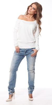 Ecru Classic Long Sleeved Top with Pocket