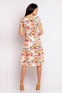 Orange Floral Pattern Flared Short Sleeves Dress