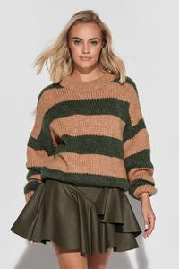 Loose Sweater in Wide Camel Khaki Stripes