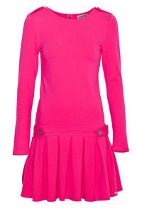 Pink Casual Long Sleeves Pleated Mini Dress