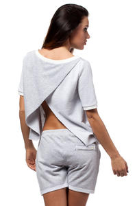 Grey Cropped Blouse with Crossover Back