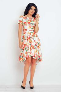Orange Flowers Pattern Asymetrical Cut Out Shoulders Dress