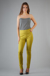 Green Slim Fit High Waist Ladies Pants