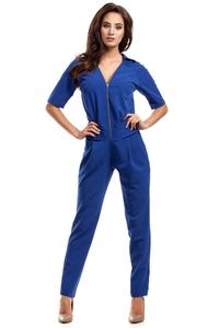 Blue Zipper Closure Ladies Jumpsuit