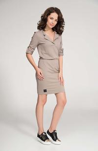 Cappuccino Polo Collar Fitted Mini Dress