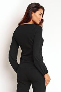 Black  Elegant Office Style Blouse with a Bow