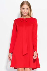Red Flared Mini Dress with a Bow