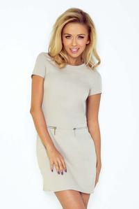 Beige Simple Mini Dress with zippers at the Anchor