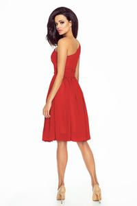 Red Asymetrical Romantic Evening Dress