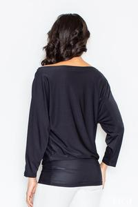 Black Loose Bat Long Sleeves Blouse