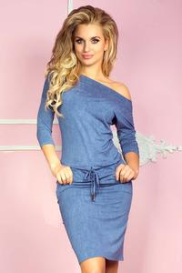 Blue Drawstring Waist Casual Dress