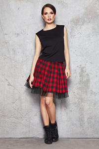 Red and Black Checkered Skirt with Contrast Mesh Lining