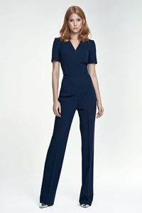 Dark Blue Elegant Short Sleeves Jumpsuit