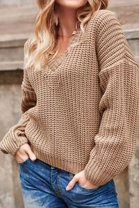 Classic Oversize Nut Sweater with V-neck