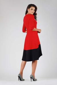Red and Black Midi Dress Asymmetrical Cut