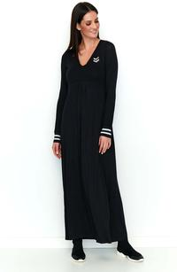 Black Long Knitted Dress in a Sporty Style