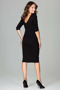 Black Slim Fit V-Neck Midi Dress