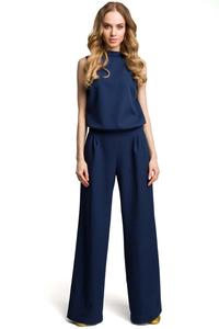 Navy Blue Collared Sleeveless Jumpsuit