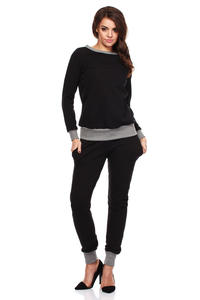 Black Dynamic Sporty Sweatshirt Long-sleeve Blouse