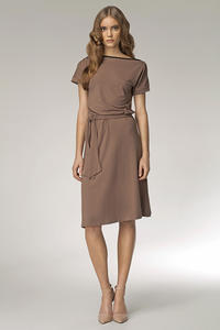 Coffee Bateau Neck Self Belted Shift Dress