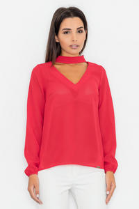 Red Elegant Blouse with Cut Out Neckline