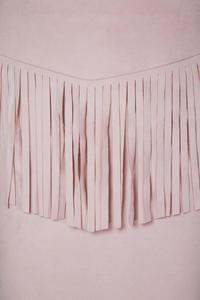 Pink Pencli Cut Mini Skirt with Fringes