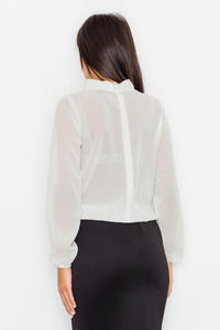 Ecru Elegant Blouse with Cut Out Neckline