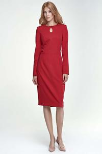 Red Pencil Elegant Midi Dress