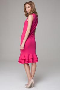 Dark Pink Coctail Midi Dress with Frills