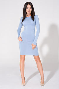 Blue Bodycon Open Back Dress