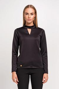 Black Blouse with Stand-up Collar and Triangle Cut Out