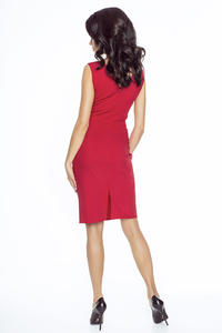 Red Elegant Wrap Neckline Evening Dress