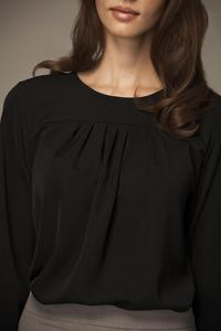 Black Wrinkled Collar Long Sleeves Blouse