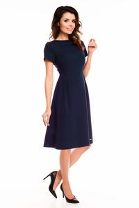 Dark Blue Short Sleeves Midi Flared Dress