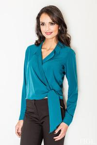 Blue Chic Wrap Design Self Tie Bow Blouse