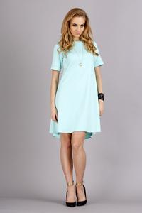 Mint Short Sleeves Flared Knee Lenght Dress