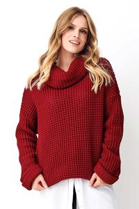 Burgundy Oversize Turtleneck Sweater