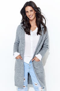 Gray Long Cardigan without Hood