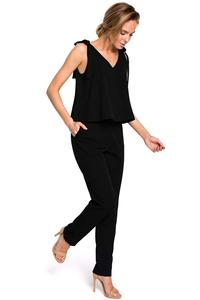 Black Elegant Ladies Jumpsuit with Bows