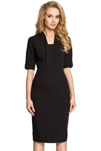Black Elegant Pencil Dress with Stylish Collar