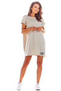 Beige Loose Summer Dress with a V-neck on the back with stripes