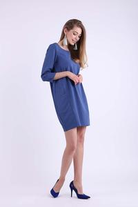 Denim Short Knitted Dress with Pockets